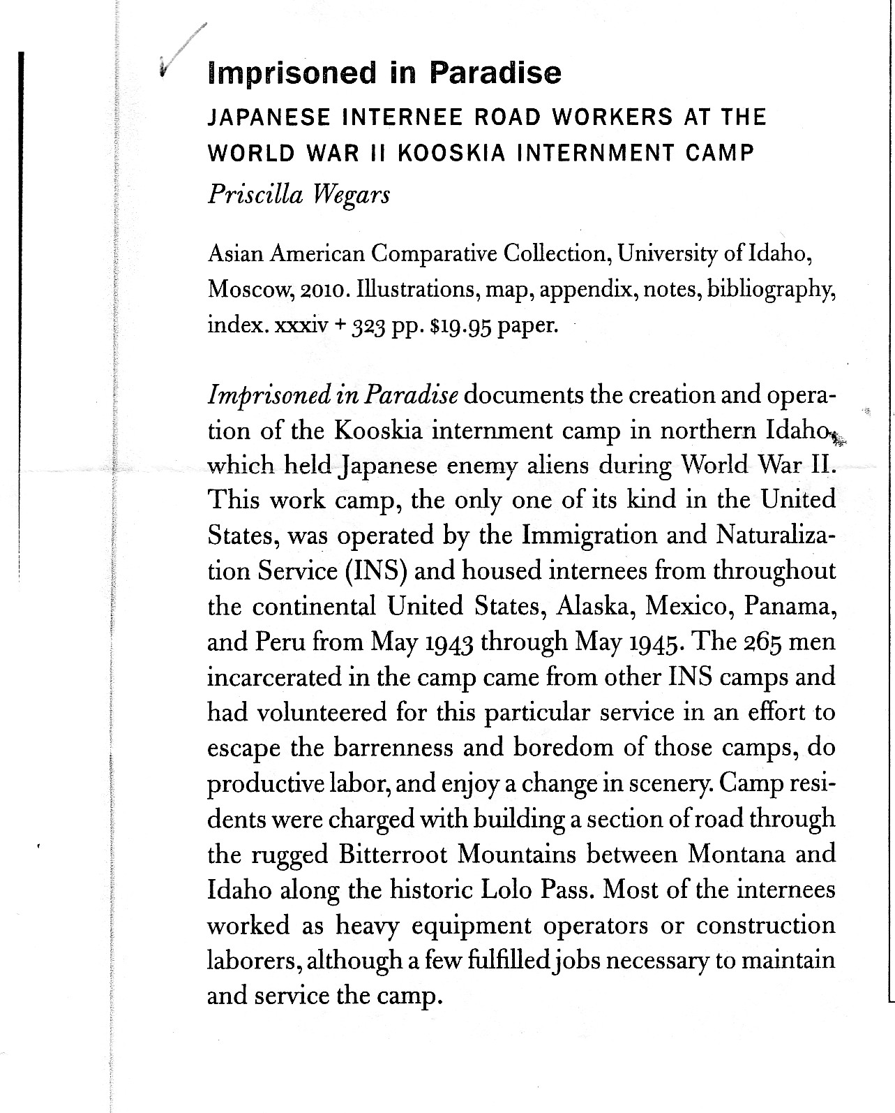 kooskia internment camp project a review of