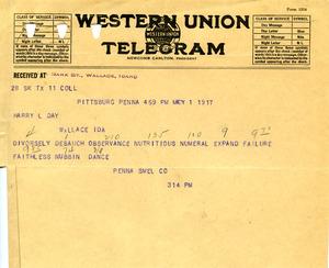 Western Union Telegram May 1 1917
